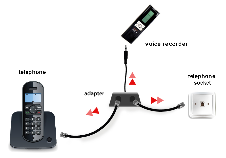 Telephone line recorder adapter